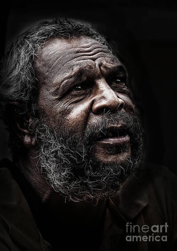 Australian Aboriginal Man Poster featuring the photograph Aboriginal man by Sheila Smart Fine Art Photography