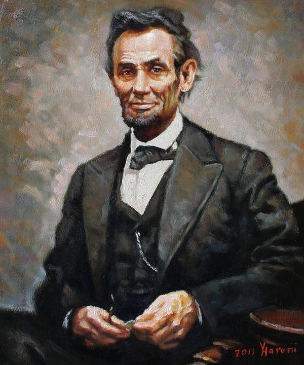 Abraham Lincoln Poster featuring the painting Abraham Lincoln by Ylli Haruni