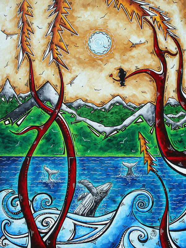 Abstract Poster featuring the painting Abstract Art Original Alaskan Wilderness Landscape Painting Land Of The Free By Madart by Megan Duncanson