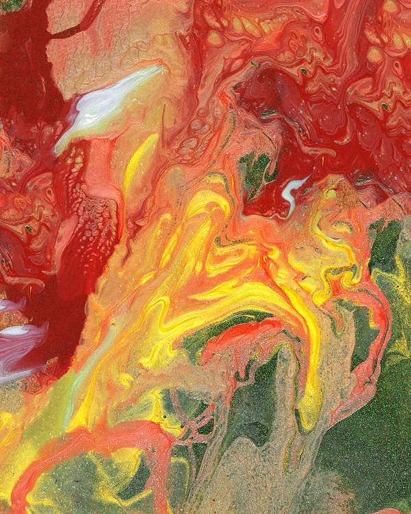 Abstract Poster featuring the photograph Abstract - Nail Polish - In A State Of Flux by Mike Savad
