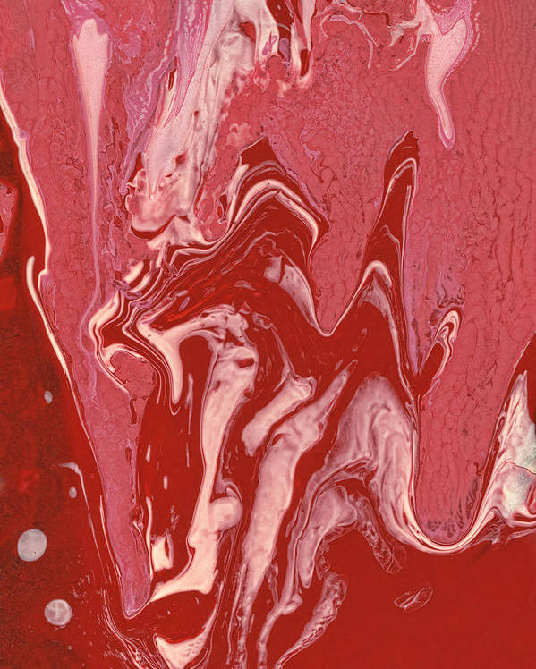 Abstract Poster featuring the painting Abstract - Nail Polish - Tongue by Mike Savad