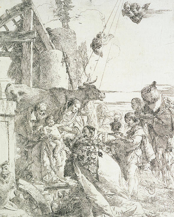 Virgin And Child Poster featuring the drawing Adoration Of The Magi by Giovanni Battista Tiepolo