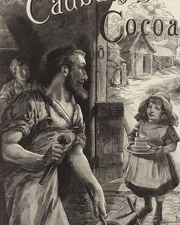 Blacksmiths Poster featuring the drawing Advertisement For Cadburys Drinking Cocoa by English School