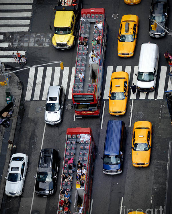 Aerial View Poster featuring the photograph Aerial View Of New York City Traffic by Amy Cicconi