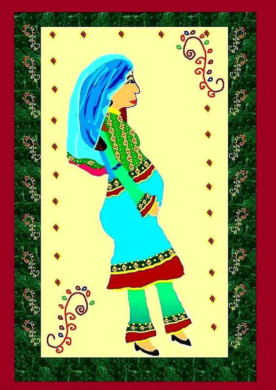 Afghan Woman Poster featuring the digital art Afghan Pregnant Woman by Homayra A Elsayed