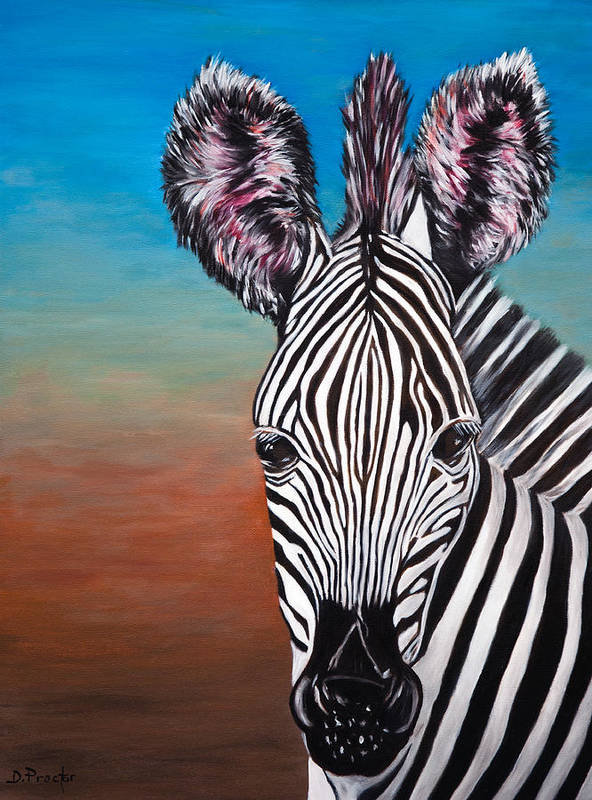 Zebra Poster featuring the painting African Zebra by Donna Proctor