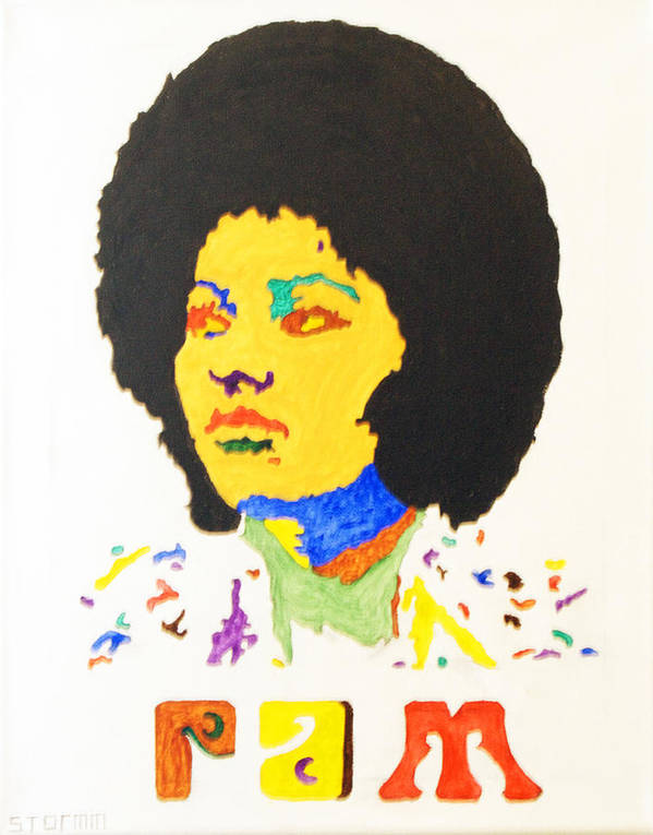 Pam Grier Poster featuring the painting Afro Pam Grier by Stormm Bradshaw