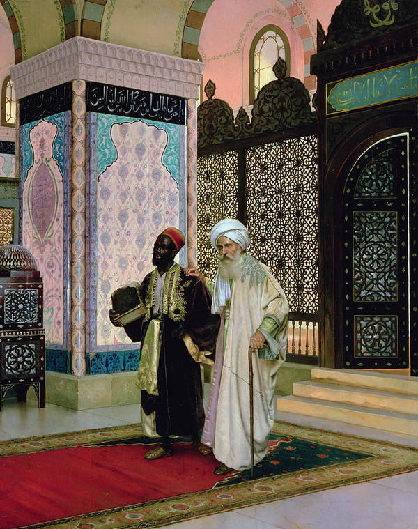 Middle Poster featuring the painting After Prayers At The Mosque by Rudolphe Ernst