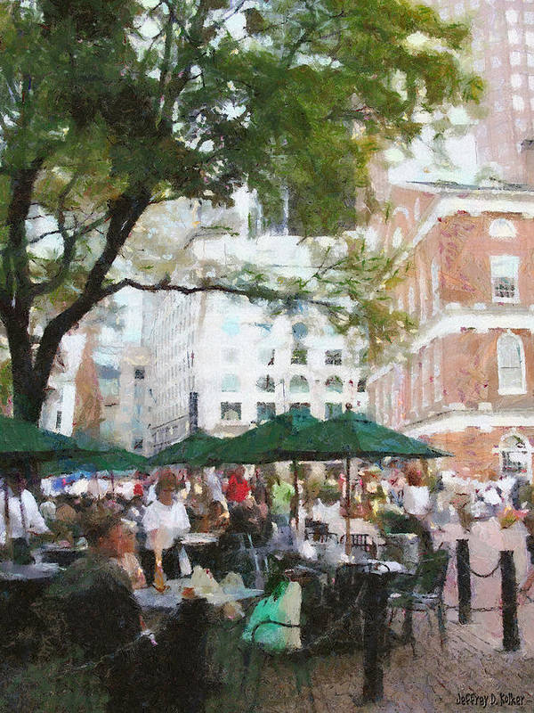 Afternoon Poster featuring the painting Afternoon At Faneuil Hall by Jeff Kolker