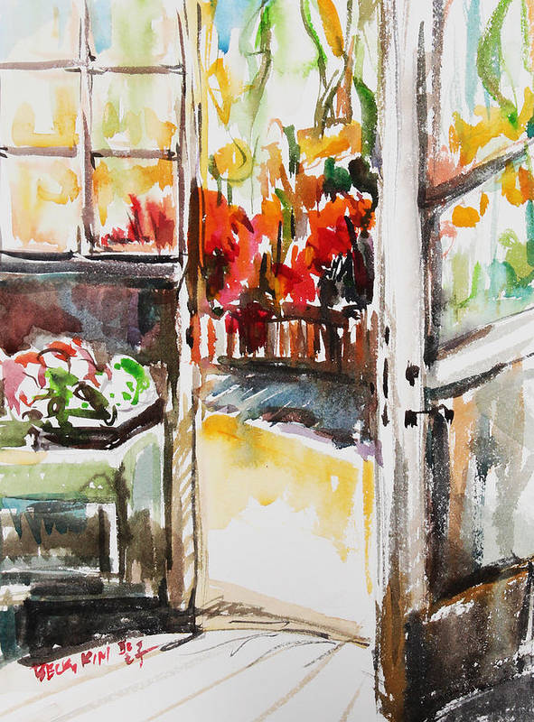 Watercolor Poster featuring the painting Afternoon by Becky Kim