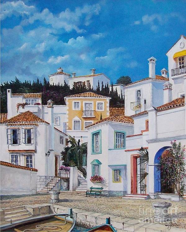 Cityscape Poster featuring the painting Afternoon Light In Montenegro by Sinisa Saratlic
