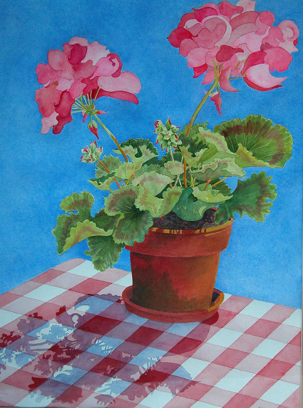 Floral. Duvet Poster featuring the painting Afternoon Shadows by Mary Ellen Mueller Legault