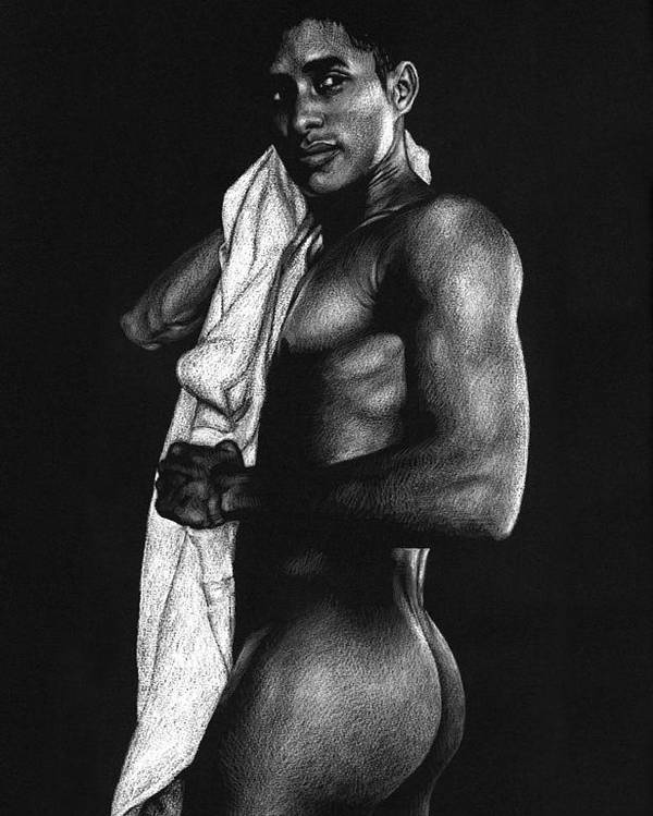Male Nude Poster featuring the drawing Afterwards by Douglas Simonson
