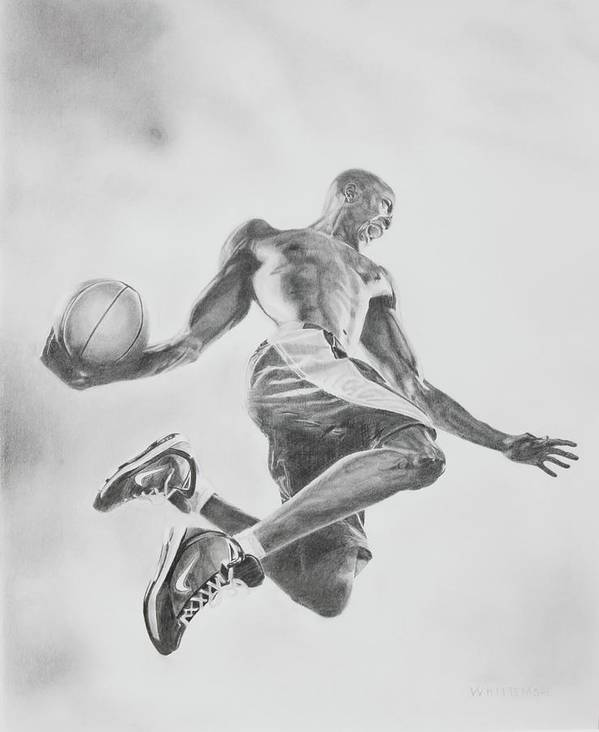 Basketball Poster featuring the drawing Air Ball by Jennifer Whittemore
