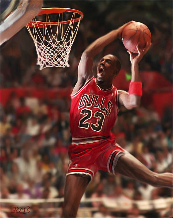 Michael Jordan Poster featuring the mixed media Air Jordan by Mark Spears