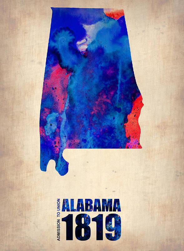 Alabama Poster featuring the digital art Alabama Watercolor Map by Naxart Studio