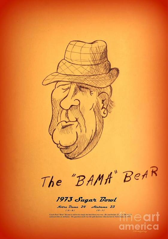 Nick Poster featuring the drawing Alabama's Bear Bryant by Greg Moores