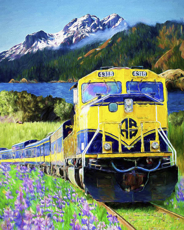 Railroad Poster featuring the painting Alaska Railroad by David Wagner