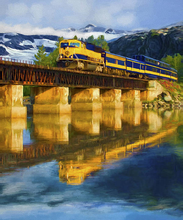 Railroad Poster featuring the painting Alaska Railroad Reflections by David Wagner