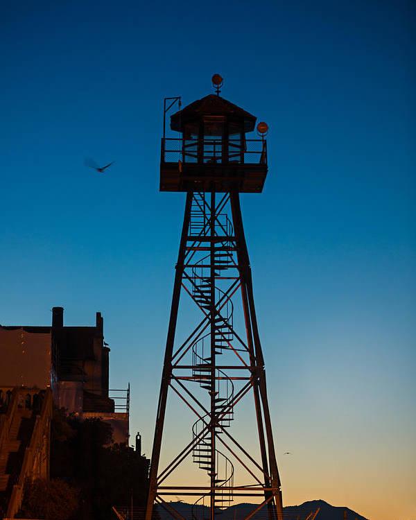 Alcatraz Poster featuring the photograph Alcatraz Guard Tower by Steve Gadomski