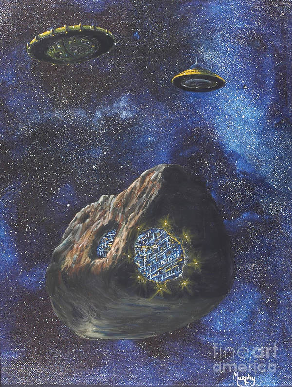 Painting Poster featuring the painting Alien Space Factory by Murphy Elliott