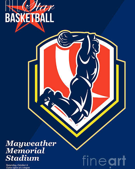 Basketball Poster featuring the digital art All American Basketball Retro Poster by Aloysius Patrimonio