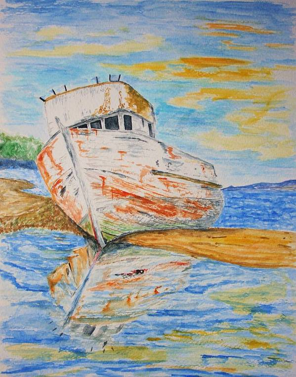 Boat Poster featuring the painting All Washed Up by Paul Morgan