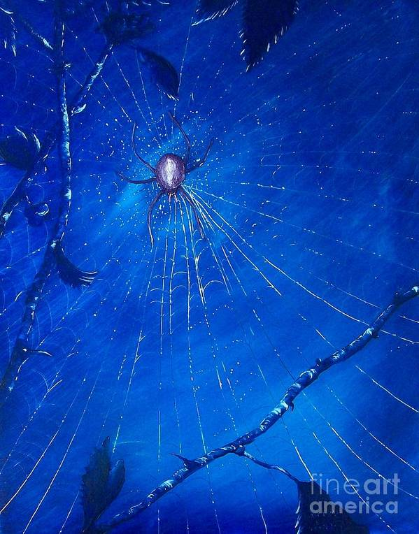 Spider Poster featuring the painting Along Came A Spider. by Richard Brooks