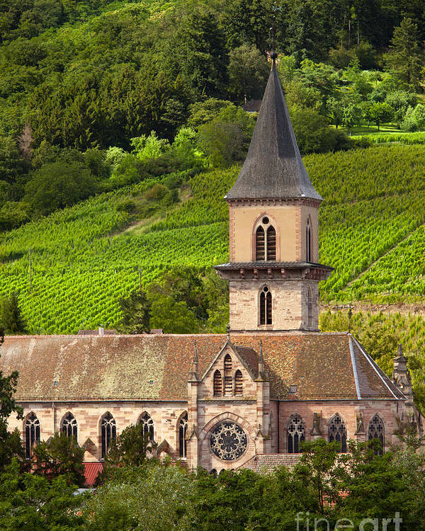 Ribeauville Poster featuring the photograph Alsace Church by Brian Jannsen
