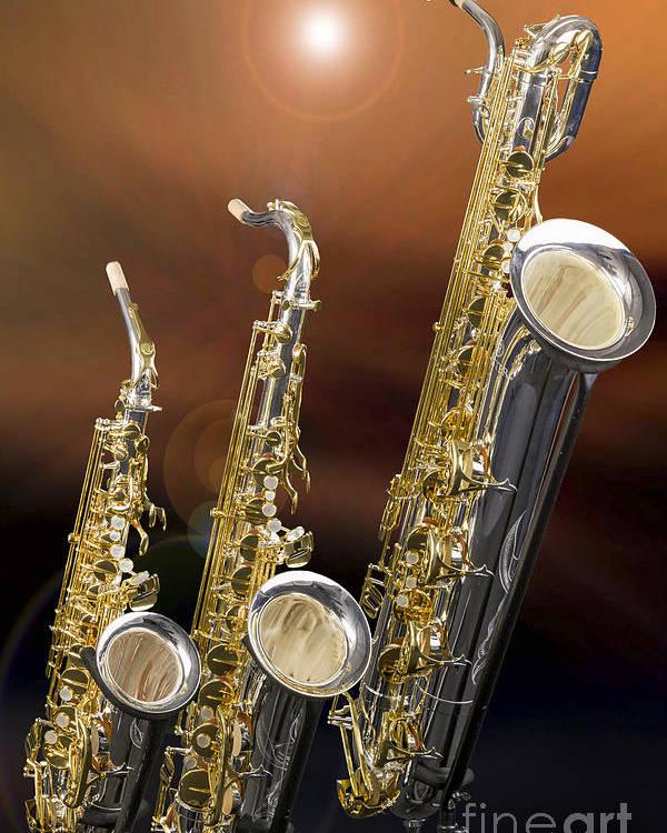 Alto Tenor Baritone Saxophone Photo In Color 3461 02 Poster