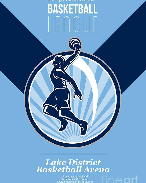 Basketball Poster featuring the digital art Amateur Basketball League Retro Poster by Aloysius Patrimonio