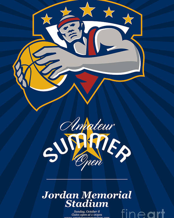 Basketball Poster featuring the digital art Amateur Summer Basketball League Open Poster by Aloysius Patrimonio