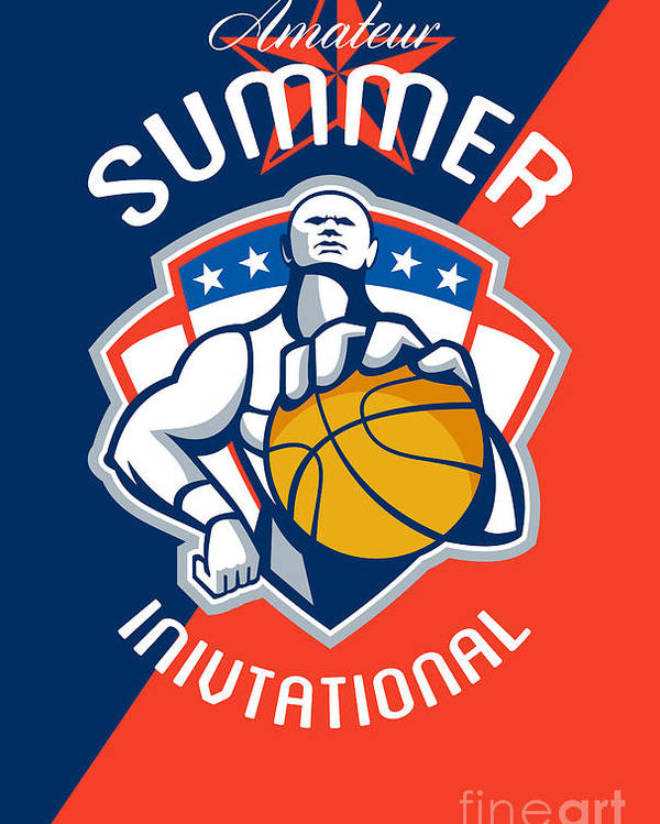 Basketball Poster featuring the digital art Amateur Summer Invitational Basketball Poster by Aloysius Patrimonio