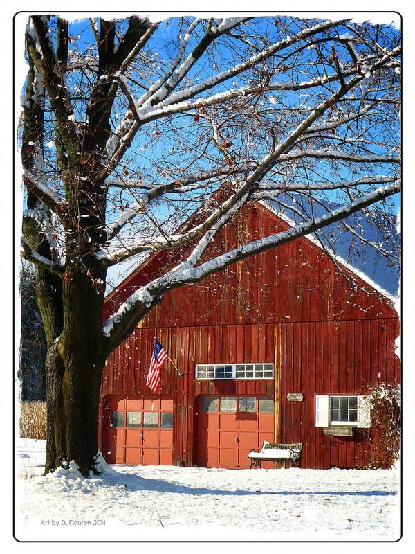 Flag Poster featuring the photograph American Flag Red Barn by Dee Flouton