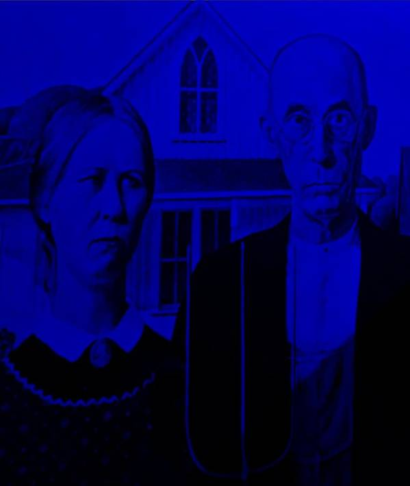 Americana Poster featuring the photograph American Gothic In Blue by Rob Hans