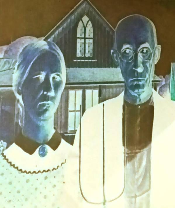 Americana Poster featuring the photograph American Gothic In Negative by Rob Hans