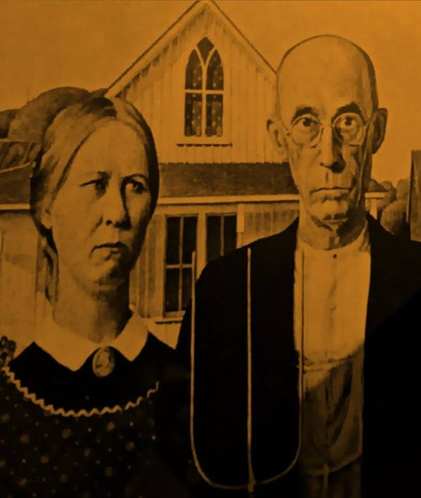 Americana Poster featuring the photograph American Gothic In Orange by Rob Hans