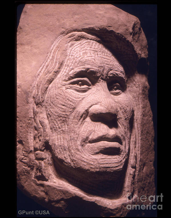 American Indians Poster featuring the sculpture American-indian-portrait-1 by Gordon Punt