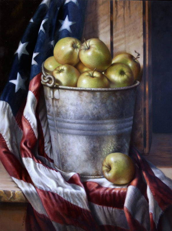 Apples Poster featuring the painting American Pie by William Albanese Sr