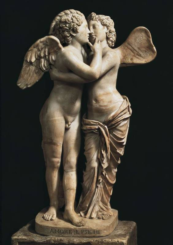 Vertical Poster featuring the photograph Amor And Psyche. 1st C. Hellenistic by Everett