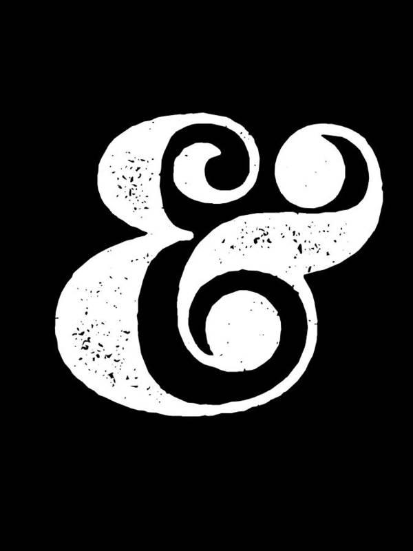 Ampersand Poster featuring the digital art Ampersand Poster Black by Naxart Studio