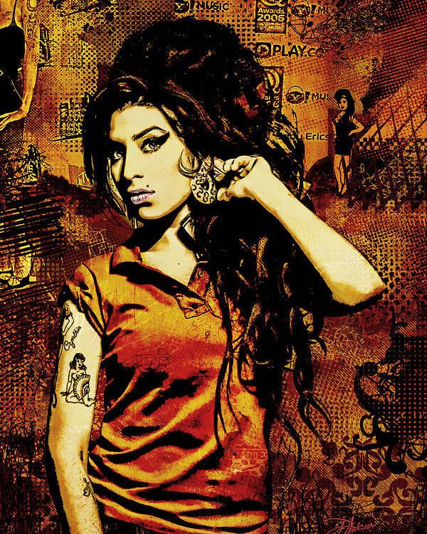 Amy Winehouse. Orange Poster featuring the digital art Amy Winehouse 24x36 Mm Reg by Dancin Artworks