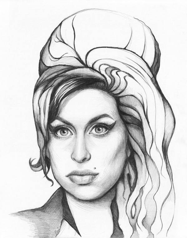 Amy Poster featuring the drawing Amy Winehouse by Olga Shvartsur