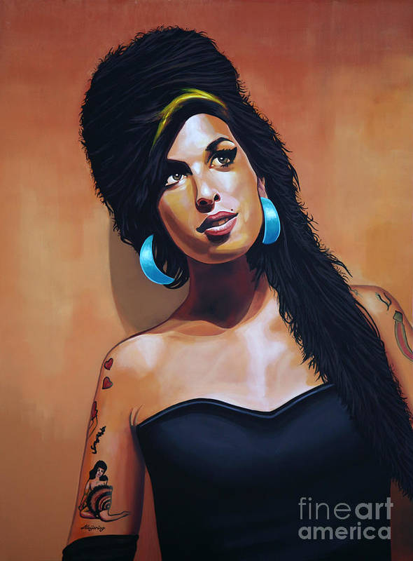 Amy Winehouse Poster featuring the painting Amy Winehouse by Paul Meijering