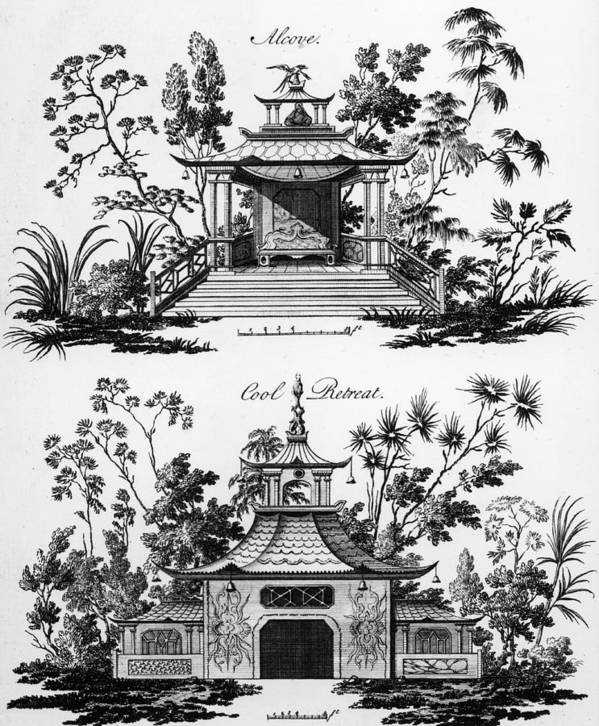Garden Pavilion; Pagoda; Shelter; Arbour; Folly; Decorative; Chinois; Chinoiserie Poster featuring the drawing An Alcove And A Cool Retreat by Paul Decker