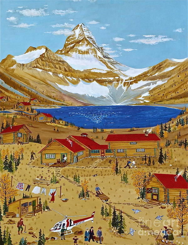 Mt Assiniboine Lodge Poster featuring the painting An Alpine Autumn by Virginia Ann Hemingson