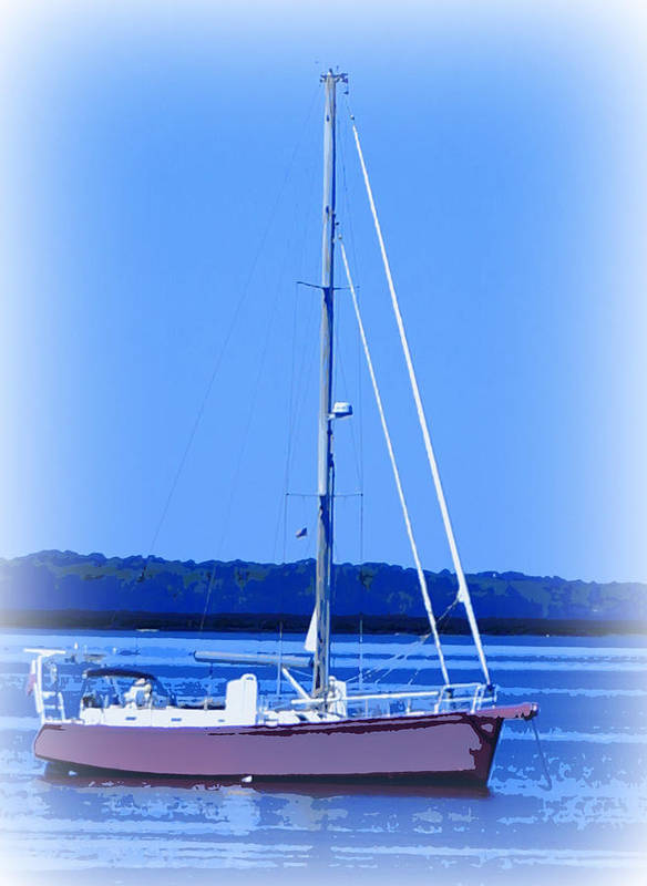 Digital Photograph Poster featuring the ceramic art Anchored In The Bay by Laurie Pike