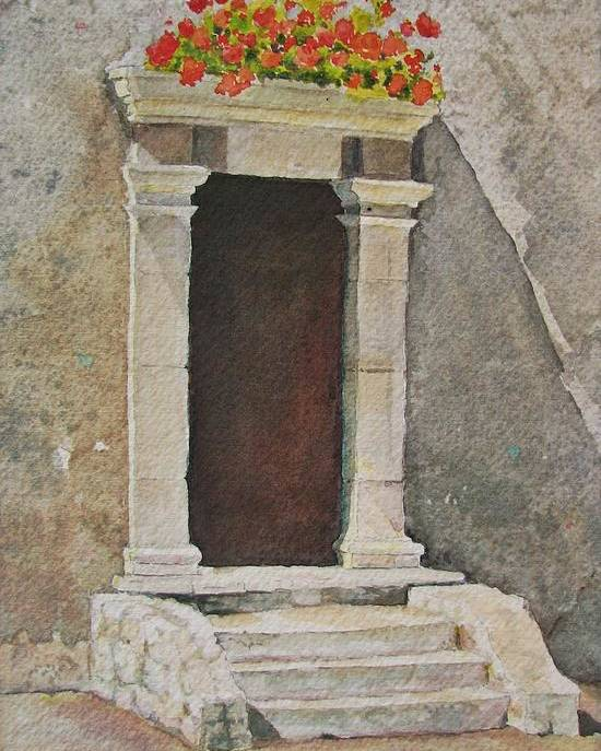 Antique Doorway Poster featuring the painting Ancient Doorway by Mary Ellen Mueller Legault
