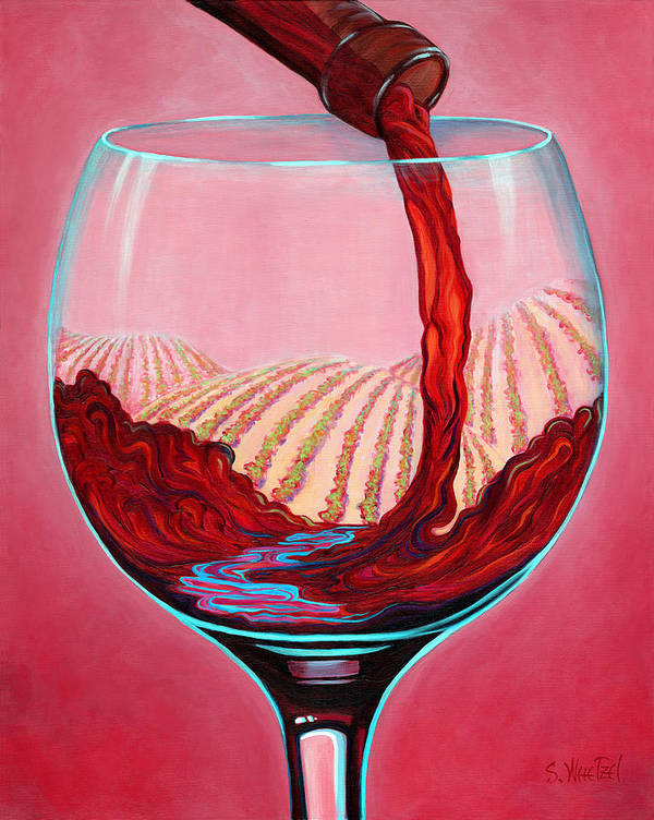 Red Wine Pour Poster featuring the painting ...and Let There Be Wine by Sandi Whetzel