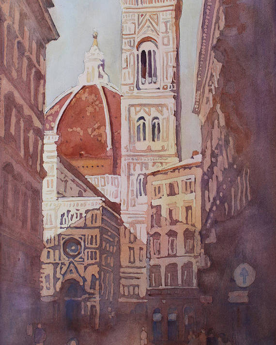 Duomo Campainula Poster featuring the painting And Suddenly The Duomo by Jenny Armitage